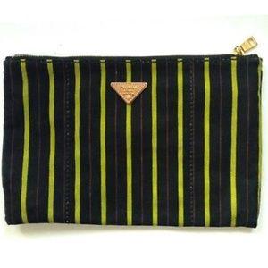 AUTHENTIC Prada Striped Canvas Clutch Bag